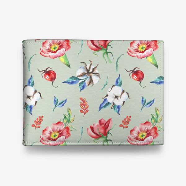 Кошелек «Хлопок и цветы шиповника на салатовом»