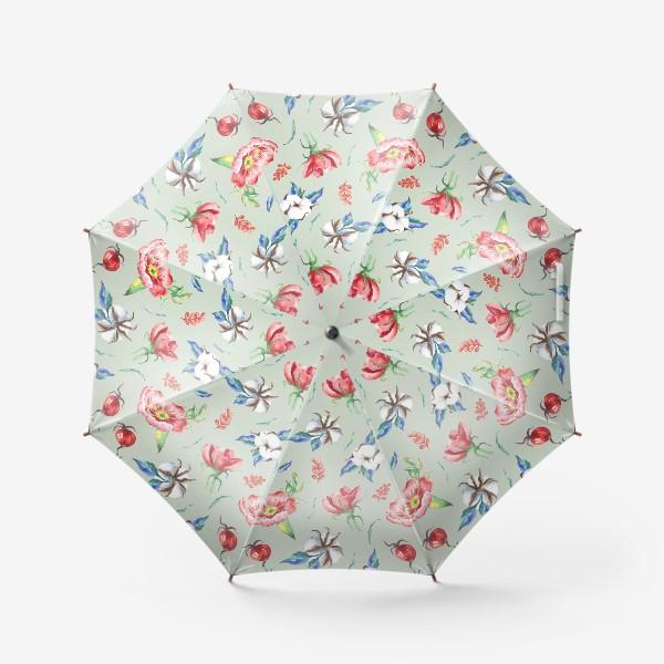 Зонт «Хлопок и цветы шиповника на салатовом»