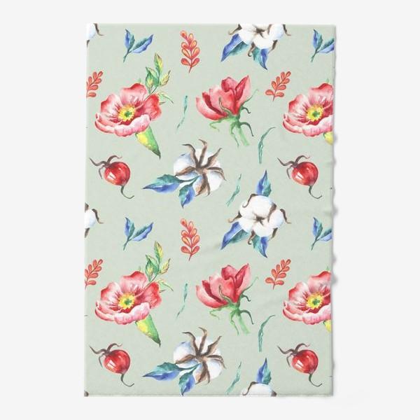 Полотенце «Хлопок и цветы шиповника на салатовом»
