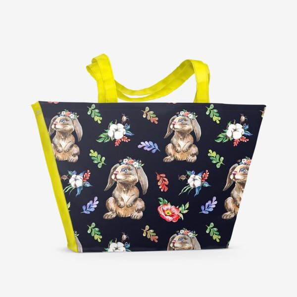 Пляжная сумка «Зайчики, хлопок и цветы, акварельный паттерн 2»