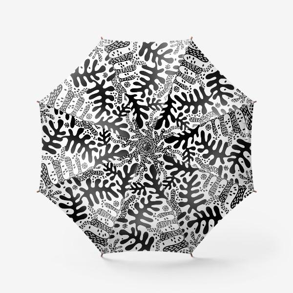 Зонт «Черно-белые листья»