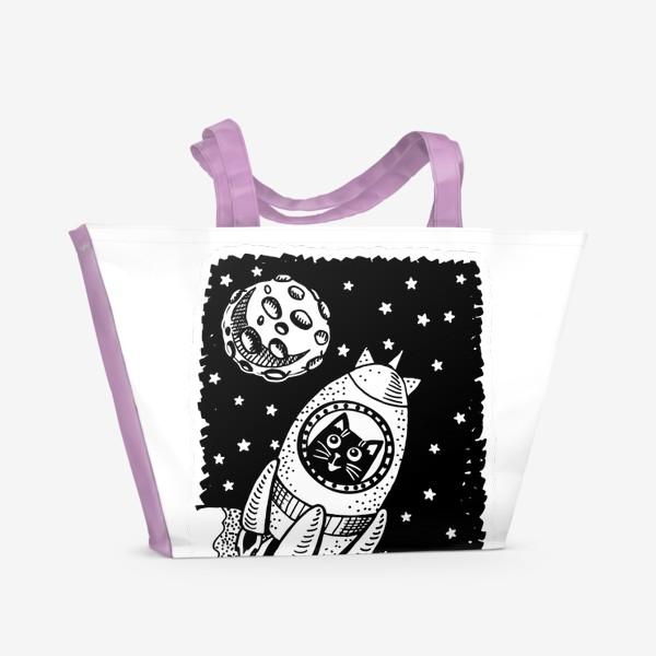Пляжная сумка «Котик-космонавт»