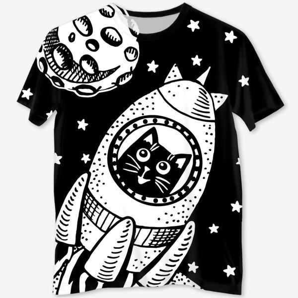Футболка с полной запечаткой «Котик-космонавт»