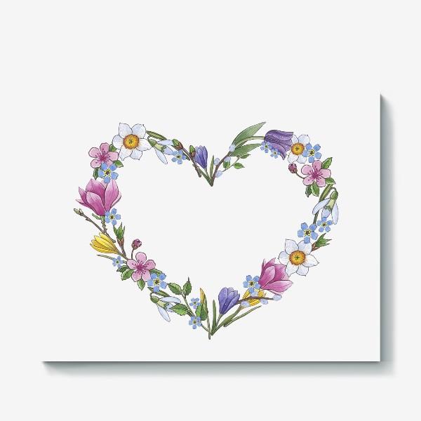 Холст «Весенние цветы. Сердце»