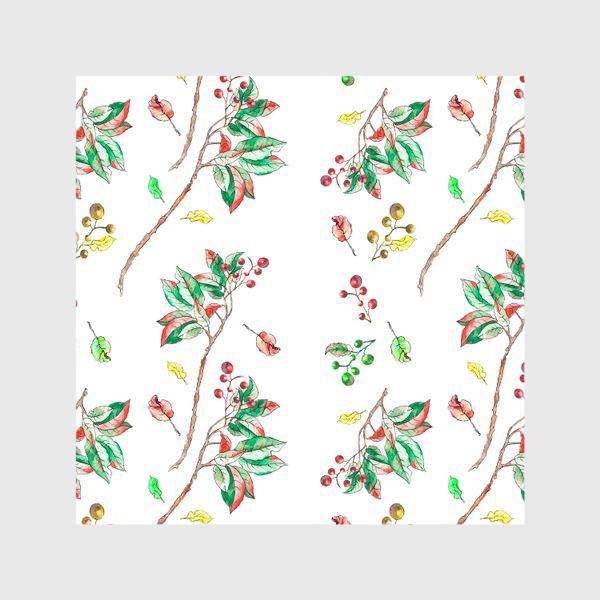 Шторы «Акварельные осенние листья и ягоды 10»