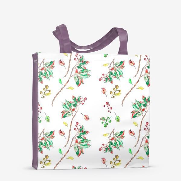 Сумка-шоппер «Акварельные осенние листья и ягоды 10»
