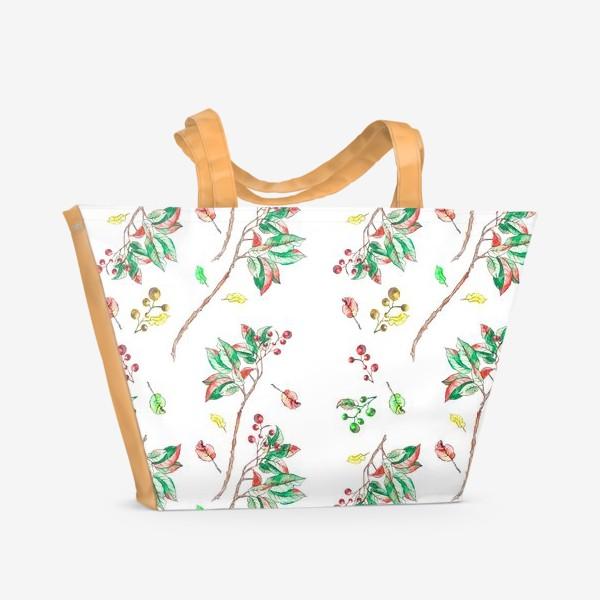 Пляжная сумка «Акварельные осенние листья и ягоды 10»
