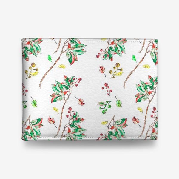 Кошелек «Акварельные осенние листья и ягоды 10»