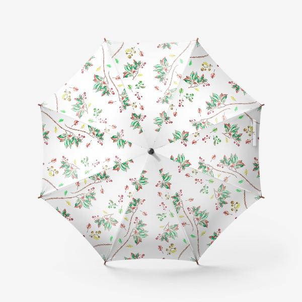 Зонт «Акварельные осенние листья и ягоды 10»