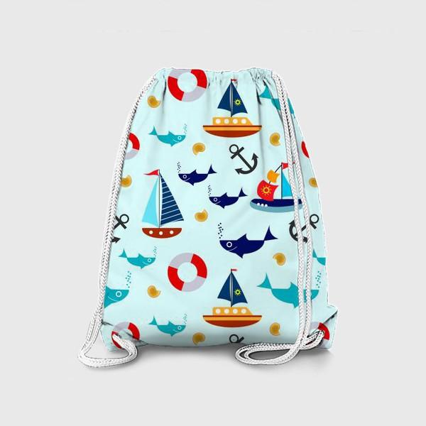 Рюкзак «Корабли и рыбы»