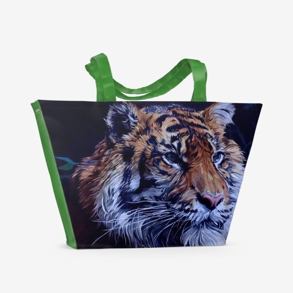 Пляжная сумка «Амурский тигр. Спаси Амурского тигра. Дикая природа. Фонд помощи.»