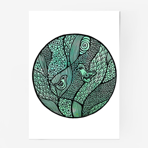 Постер «Птицы, свидание в саду»