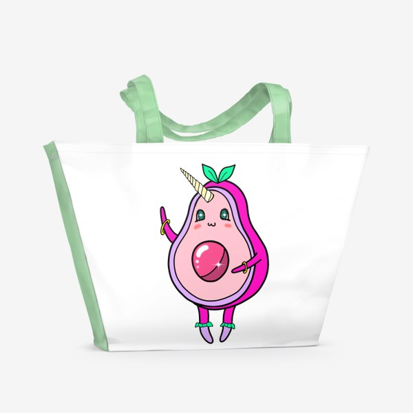 Пляжная сумка «Авокадо единорог»