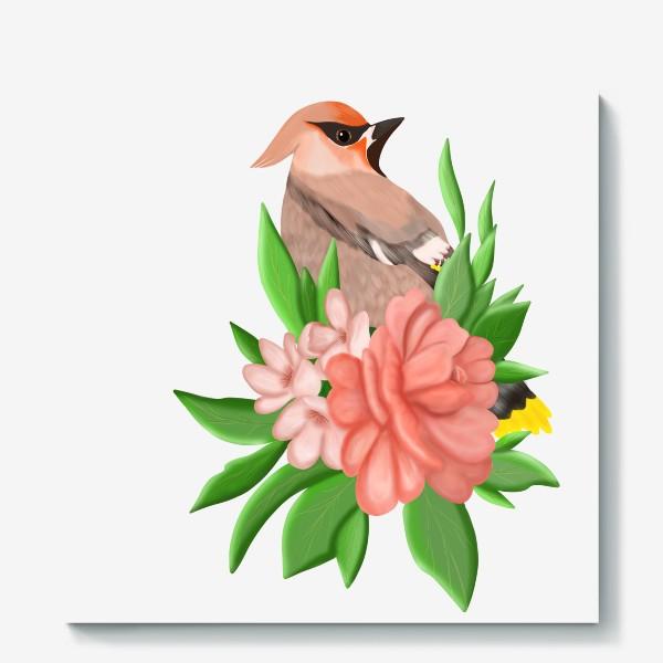 Холст «Птица в цветах»