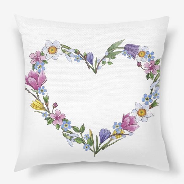 Подушка «Весенние цветы. Сердце»