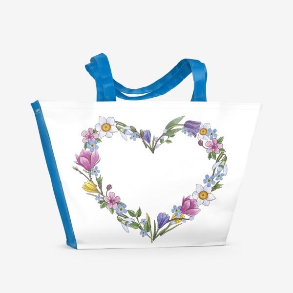 Пляжная сумка «Весенние цветы. Сердце»