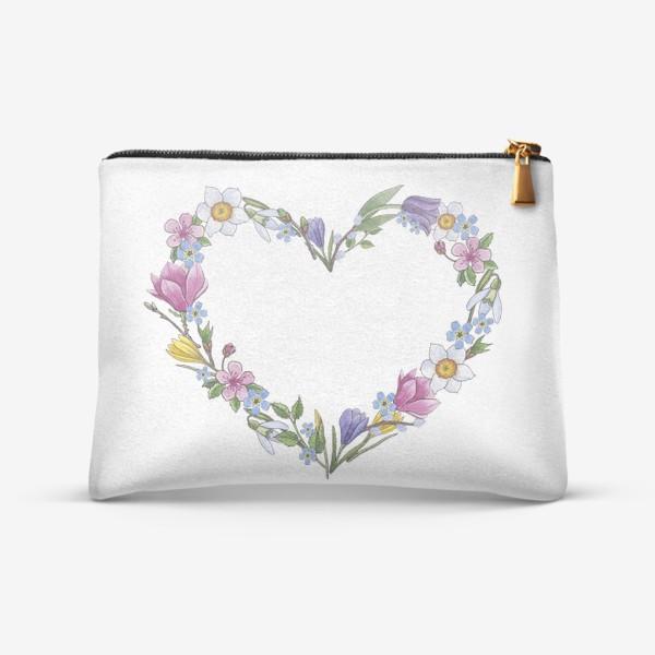Косметичка «Весенние цветы. Сердце»