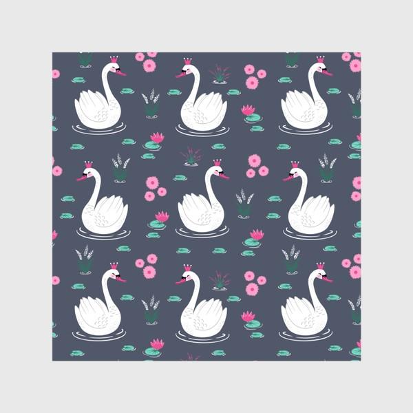 Шторы «Лебедь белый на сером»