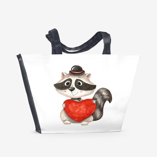Пляжная сумка «Енот с сердцем»