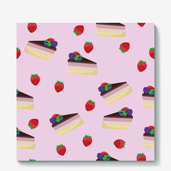 Холст «Торт с ягодами»