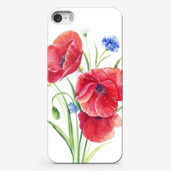 Чехол iPhone «Красные маки с васильками»