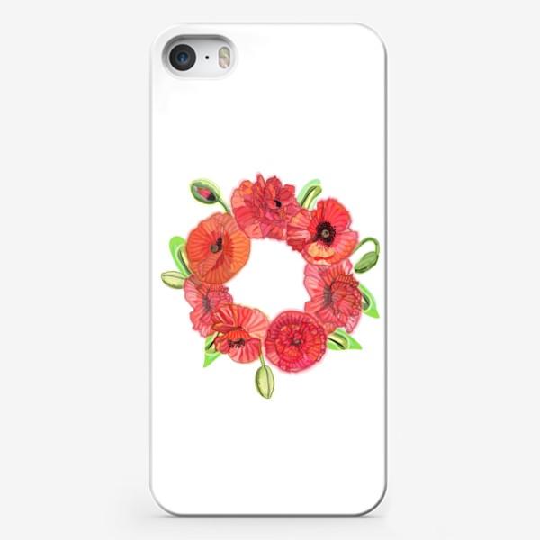 Чехол iPhone «Венок из красных маков»