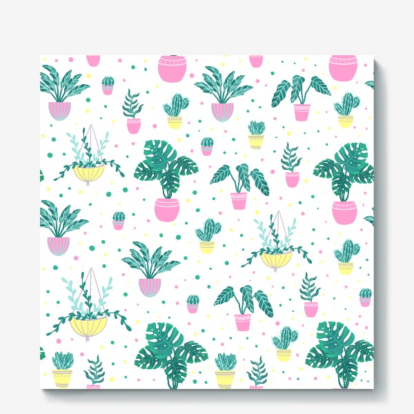 Холст «Комнатные цветы/кактусы»