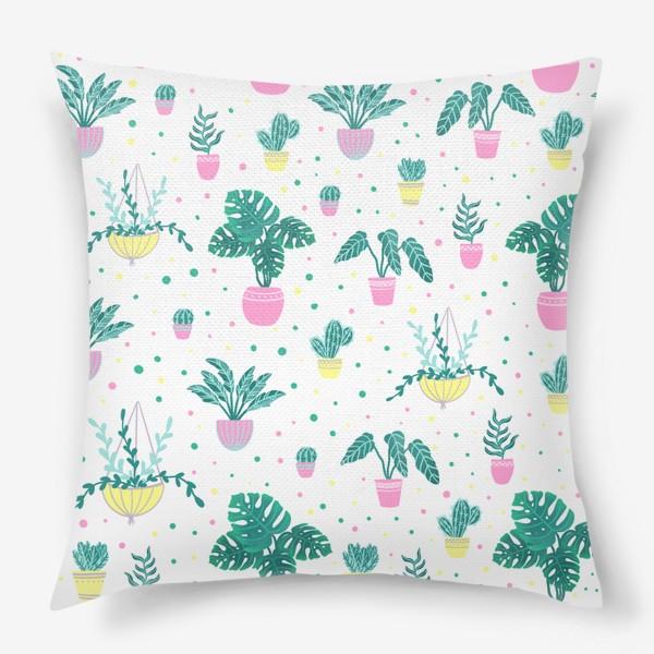 Подушка «Комнатные цветы/кактусы»