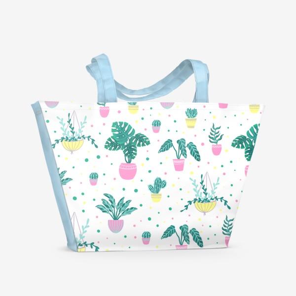 Пляжная сумка «Комнатные цветы/кактусы»