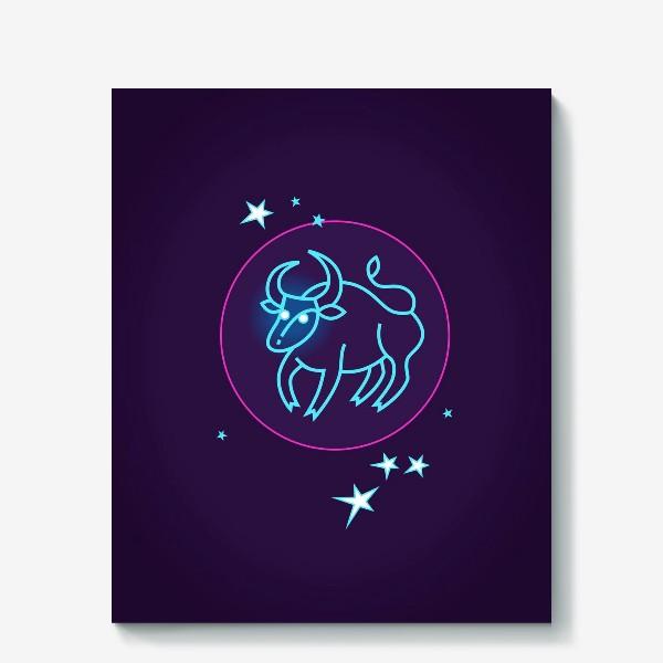 Холст «Знак Зодиака Телец. Светящийся голубой контур быка в круге со звездами.»