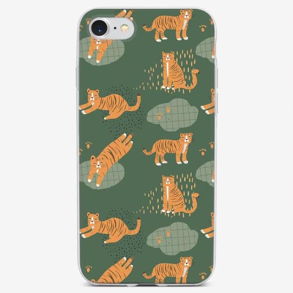 Чехол iPhone «тигрята на зеленом»