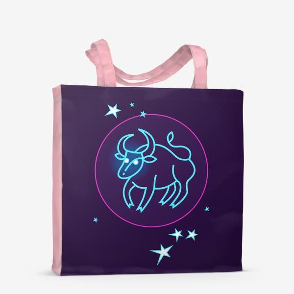 Сумка-шоппер «Знак Зодиака Телец. Светящийся голубой контур быка в круге со звездами.»