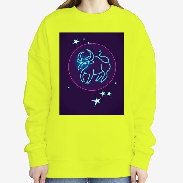 Свитшот «Знак Зодиака Телец. Светящийся голубой контур быка в круге со звездами.»