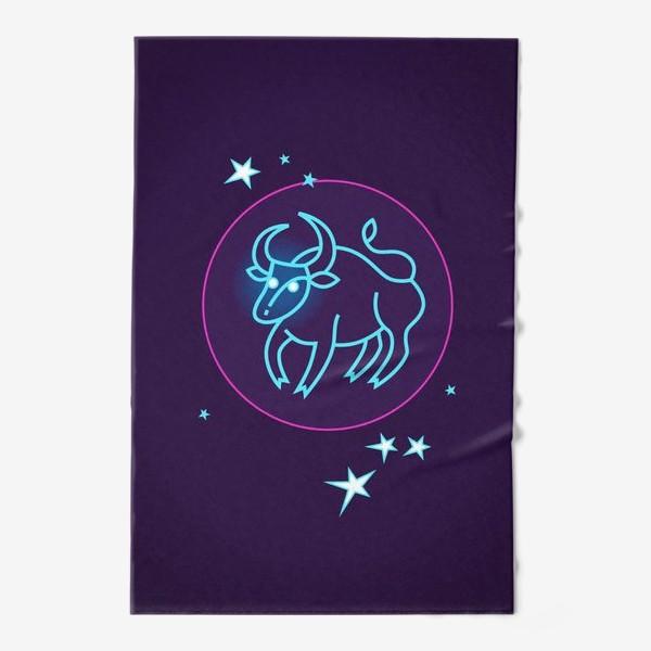 Полотенце «Знак Зодиака Телец. Светящийся голубой контур быка в круге со звездами.»