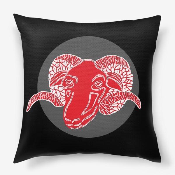 Подушка «Овен. Знак зодиака. Голова барана в круге»