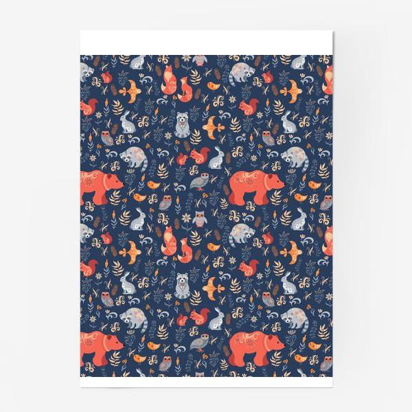 Постер «Лесные животные, растения на синем фоне. FolkArt.»