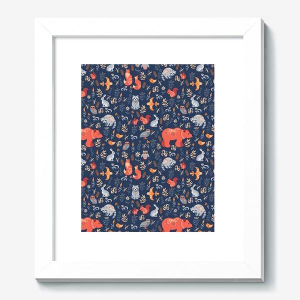 Картина «Лесные животные, растения на синем фоне. FolkArt.»