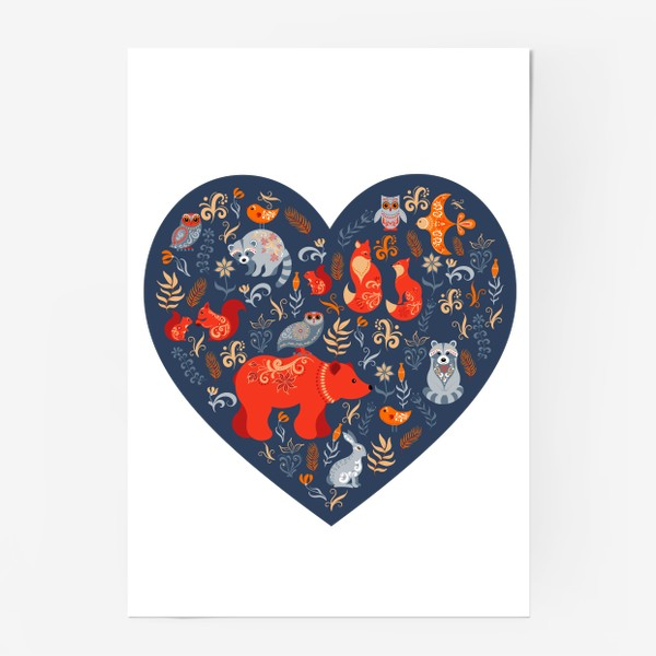 Постер «Лесные животные в сердце»