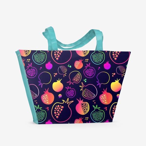 Пляжная сумка «Гранаты на темном фоне»
