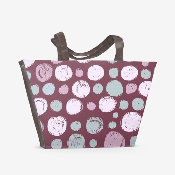 Пляжная сумка «Паттерн в розовых тонах. Круги. Абстракция»