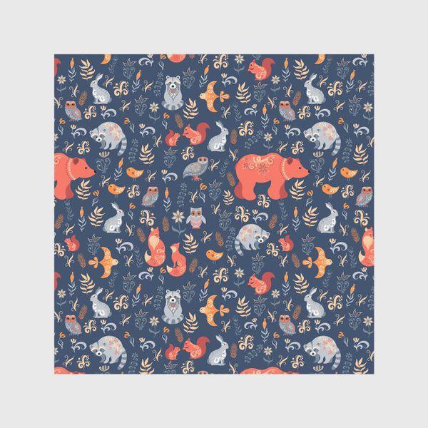 Скатерть «Лесные животные, растения на синем фоне. FolkArt.»