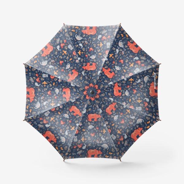 Зонт «Лесные животные, растения на синем фоне. FolkArt.»