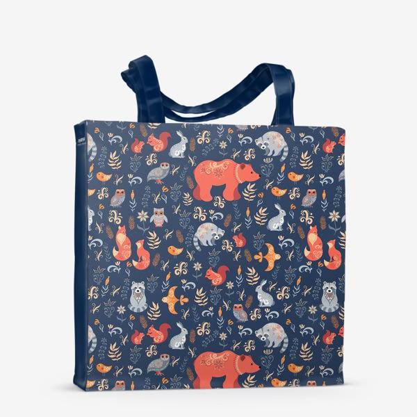 Сумка-шоппер «Лесные животные, растения на синем фоне. FolkArt.»