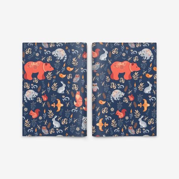 Обложка для паспорта «Лесные животные, растения на синем фоне. FolkArt.»