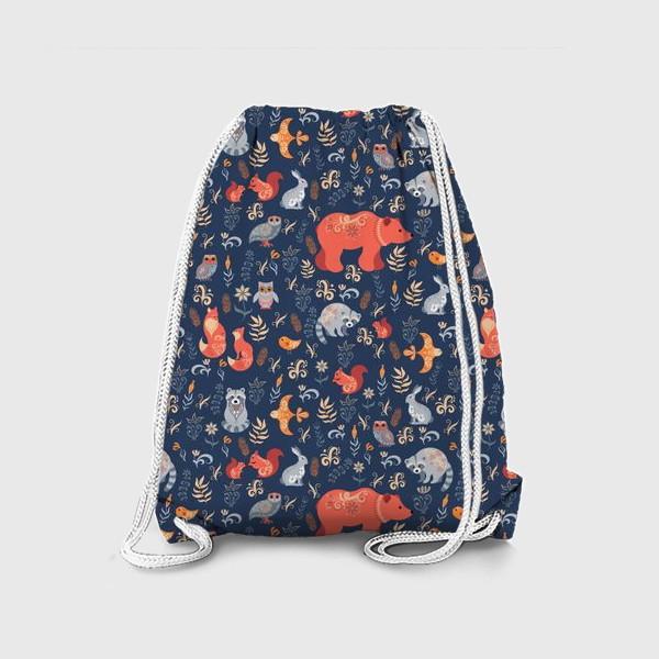 Рюкзак «Лесные животные, растения на синем фоне. FolkArt.»