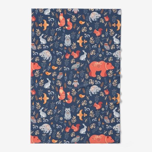 Полотенце «Лесные животные, растения на синем фоне. FolkArt.»