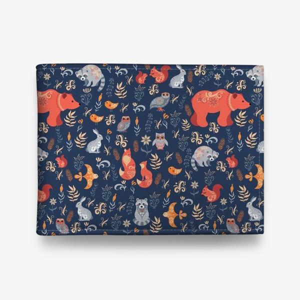 Кошелек «Лесные животные, растения на синем фоне. FolkArt.»