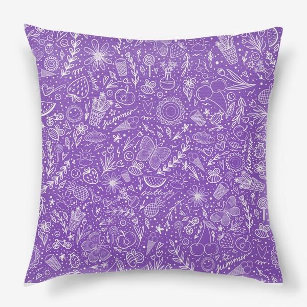 Подушка «Время лета на фиолетовом»