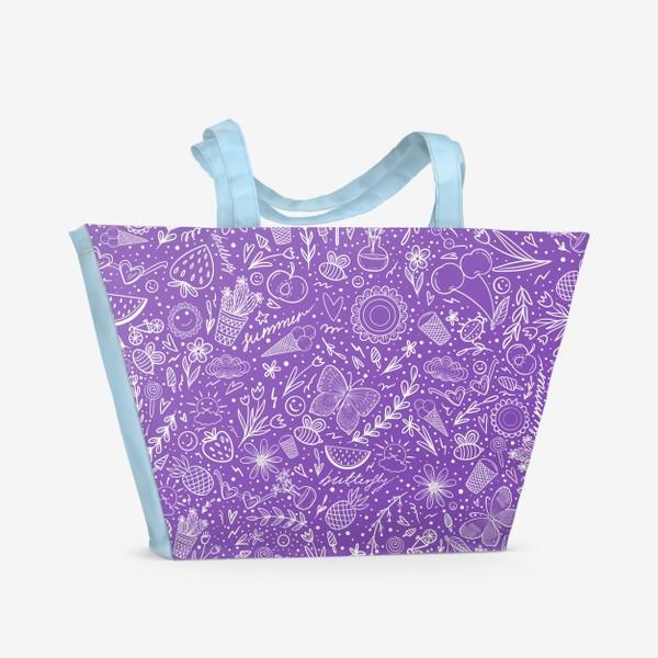 Пляжная сумка «Время лета на фиолетовом»