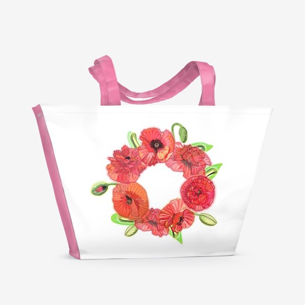 Пляжная сумка «Венок из красных маков»